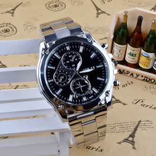[GIN FOR FREE SHIPPING] Luxury Men Date Army Sport Stainless Steel Quartz Analog Wrist Watch