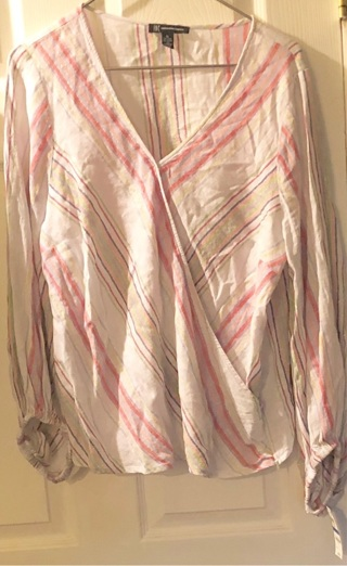 BNWT Sz XL Really Pretty Linen/Rayon/Poly, Striped Pink/Purple Long Sleeved, Blouse.