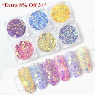 Sun Light UV Nail Art Changing Color Mix Size Glitter Powder Chameleon Flakes