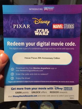Hocus Pocus 25th Anniversary HD digital code