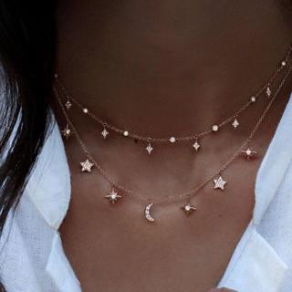 Star Moon Crystal Multilayer Pendant Necklace for Women 2019 Boho Flower Choker Necklaces Vintage