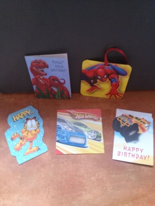 5 Boys Birthday Gift Cards/Tags~small size
