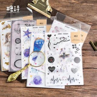 3 Sheets/lot Cute Paper Journal Decorative Kawaii Gold Stickers Scrapbooking School Supplies Plann