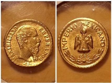 1865 Mexican Emperor Maximillian Mini Gold Coin Free Shipping
