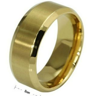 Hot Stainless Steel Ring Band Titanium Gold Men Size 10 Wedding Band
