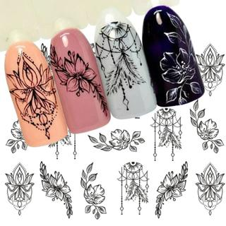1 Sheet Jewelry Flower Water Decal Black Sticker For Nail Pattern Painting Wrap Paper Foil Tip Tat
