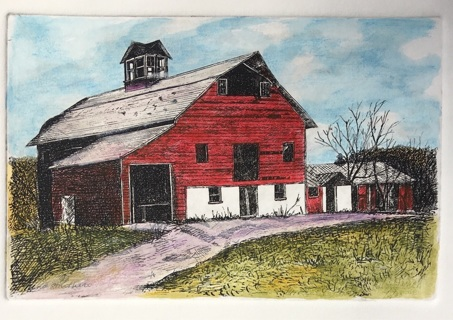 "RED BARN NEW ENGLAND - 5 x 7"" Art Card by artist Nina Struthers - GIN ONLY"