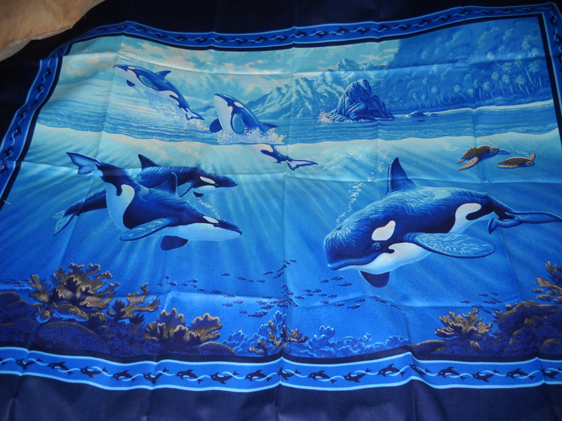 Free beautiful killer whale fabric panel sewing for Whale fabric