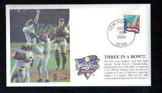 2000 New York Yankees World Series Cachet October 26 Three In A Row!!!