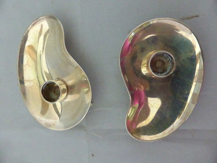 2 MID-CENT Modern Candle Taper Holder Silver Plate Prima HGV *DENMARK*