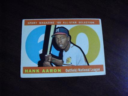 1960 Topps Baseball Hank Aaron All Star Card #566
