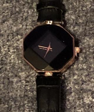BNIP Black Analog Wrist Watch With Diamond Face