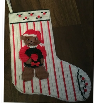 Plastic canvas Christmas stocking