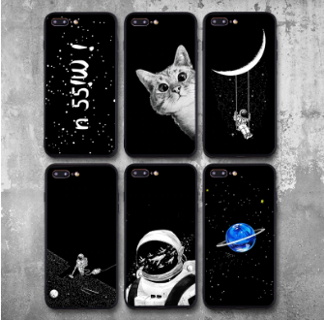 Pretty Space Moon Astronaut Phone Cases For iphone Planet Star Frosted Soft Back