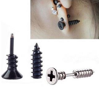 NEW SCREW Earrings BLACK TITANIUM Fashion ~x1 PAIR free shipping