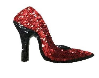 NEW Red Sequin Glitter Heel Shoe IRON ON PATCH Sequin Adhesive Patch FREE SHIPPING