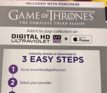 Game of Thrones Season 3 UV digital copy