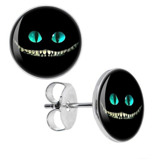 PAIR OF NEW 10MM HYPOALLERGENIC SURGICAL STAINLESS STEEL ALICE IN WONDERLAND CHESHIRE CAT EARRINGS