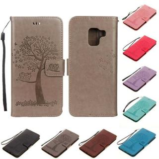 For Samsung Galaxy A6 A8 Plus 2018 Slim Leather Flip Magnetic Wallet Case Cover