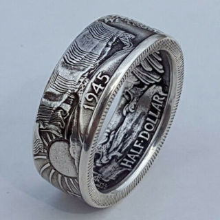 [GIN FOR FREE SHIPPING] Vintage 1945 Coin 925 Silver Ring