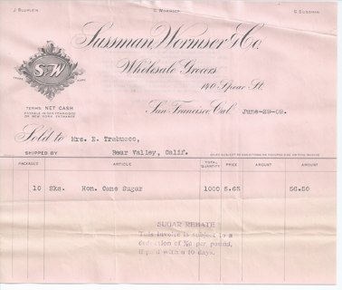 1909 Invoice Receipt for Cane Sugar from Sussman Wormser Wholesale Grocers San Francisco pink paper