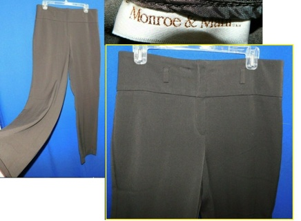 Lovely Womens Slacks Pants MONROE & MAN $44 Bottoms Choco. Brown, Size 10 GREAT Cond.