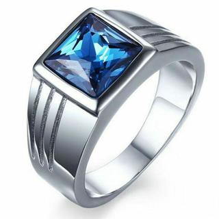 Mens Blue Sapphire Stainless Steel Size 7,8,9,10,11 Fashion Wedding Ring Gift