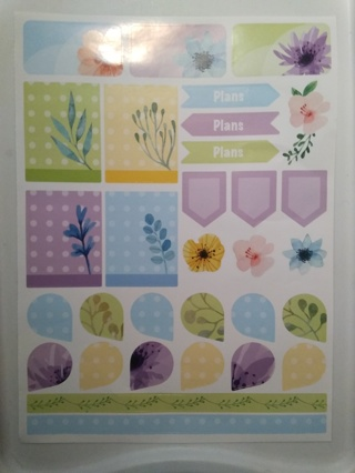 A Large Sheet of Beautiful Floral Designed Happy Planner Stickers 1 of 2
