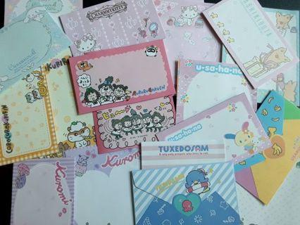 Sanrio '2019' ~ Mix Of 9 Mini Letter Sets ~ 27 Total Pieces!! *Last Set!!* ☆Kawaii Bonus☆