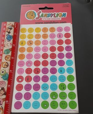 Rainbow Smiley Face Sandylion Vintage sticker set NEW