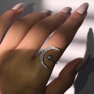 MOON AND STAR RING=Free shipping