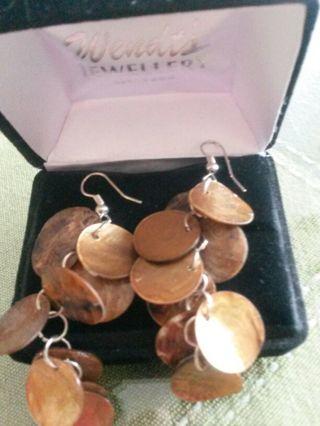Copper toned Costume Dangly Earrings