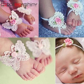 BalleenShiny 3PCS Flower Headband Baby Girls Barefoot Sandals Hair Foot Accessories Elastic Fashio