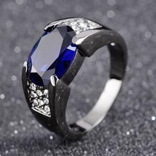 Blue Sapphire Rare Black 18K Gold Filled Man's Solitaire Rings Size 8-11