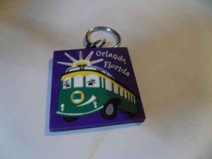 Purple rubber square Orlando Floriad streetcar keychain