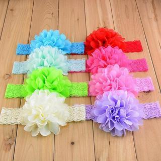 2X Chiffon Flower & Lace Headwear Lot Newborn Toddler Baby headbands christening