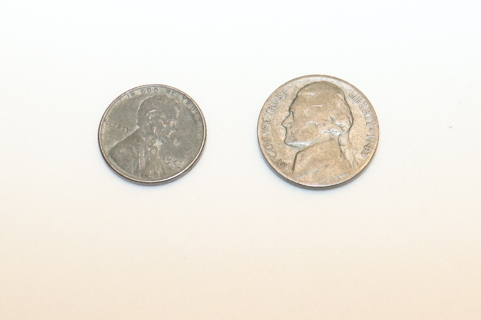 World war 2 silver nickel and steel penny.