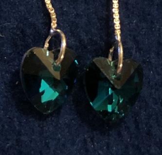 BNIP Pierced Fashion Earrings. Dangle Silver Plated Teal Green. So Pretty!
