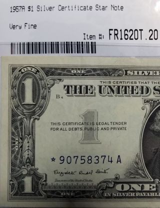 1957-A $1 Silver Certificate STAR NOTE Very Fine