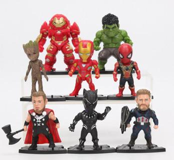 8pcs / set Marvel Toys 8-10cm Avengers Endgame Thanos Ironman Spiderman