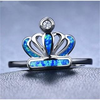 Blue Fire Opal Crown Ring Size 10