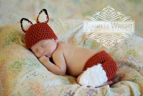 Free Crochet Pdf Pattern Sly Lil Fox Hat And Diaper Cover Set