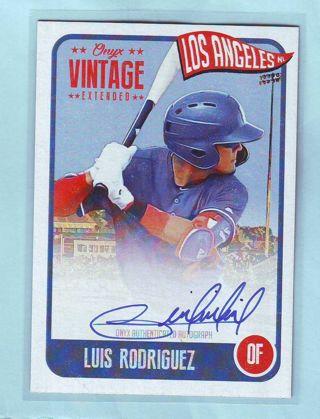 2020 Onyx Vintage Extended Luis Rodriguez AUTOGRAPH Baseball Card # EALR Dodgers