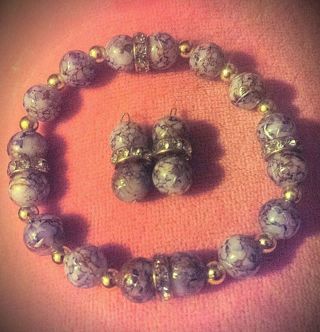 BEAUTIFUL PURPLE MARBLED STONE BEADS W GOLD SWIRLS & GOLD CRYSTAL SPACERS!