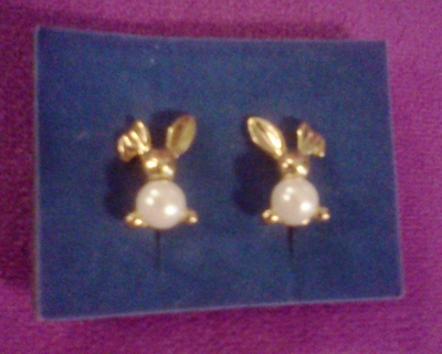 BUNNY Gold-tone & Pearl Earrings - from AVON
