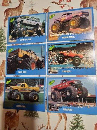 6 Monster Truck 1990 Cards!