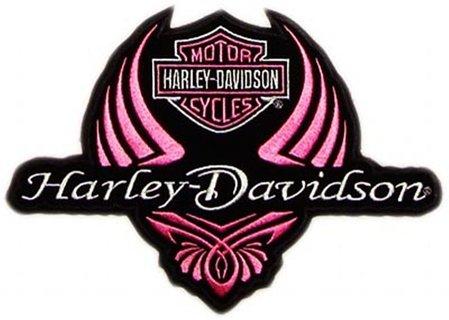 Ladies Pink Harley Davidson Logo Stretchable Iron On Transfer- FREE US Shipping
