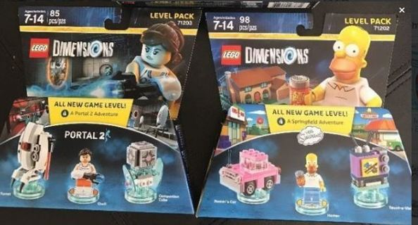BRAND NEW Lego Lot The Simpsons & Portal 2 Video Game Lego Pack - Free Shipping