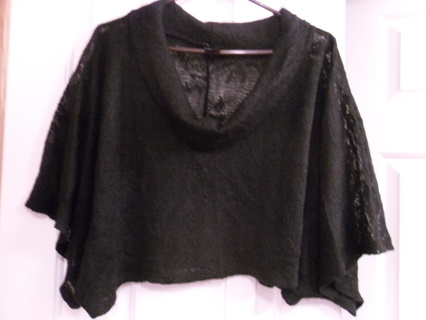 BEAUTIFUL RUE 21 JUNIORS XLG BLACK COWL NECK MIDRIFF SWEATER