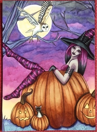 """HALLOWEEN WITCH WITH OWL- 5 x 4"""" MAGNET"""